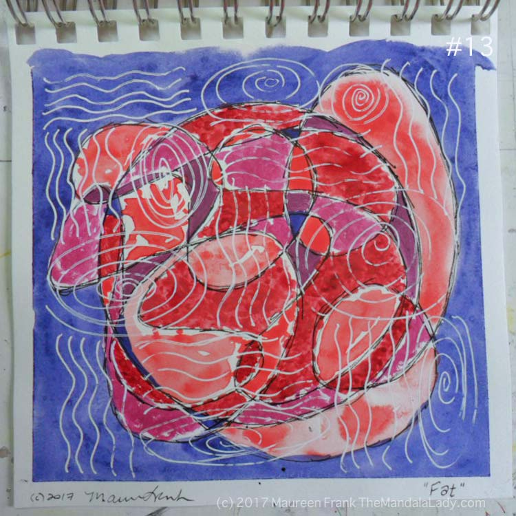 mandala of the day - fat - doodle mandala red magenta purple blue violet watercolor paper white gel pen, pen & ink