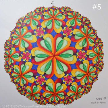 astrological sign of aries - mandala - hyperbolic tessellation - ram - rainbow colors