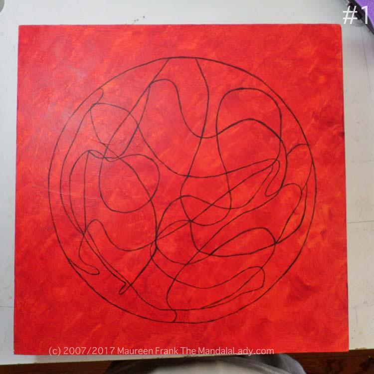 Windmill Mandala Day 1 gesso wood panel magenta