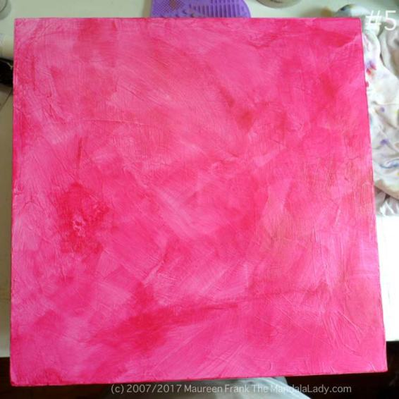Windmill Mandala Day 1 gesso wood panel magenta