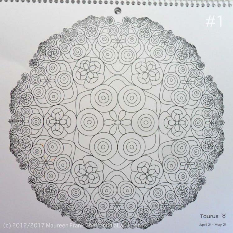 Astrological Sign of Taurus - Mandala to Color - Hyperbolic Tessellation