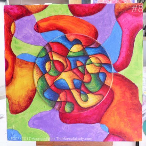 Bohemian Sunset Mandala - abstract art - doodle mandala - yellow - orange