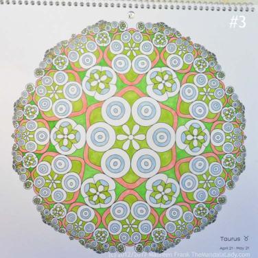 Taurus - Astrology - hyperbolic - tessellation - green - pink - blue - yellow - orange