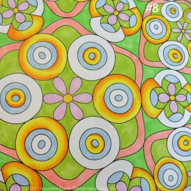 Taurus - Astrology - hyperbolic - tessellation - green - pink - blue - yellow - orange - taurus symbol