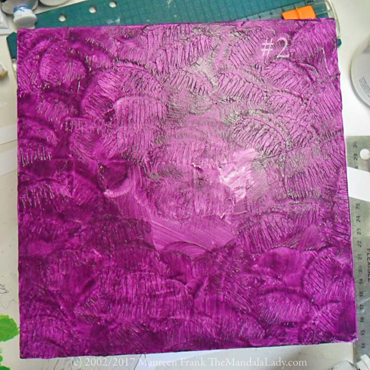 primrose mandala - gessoed wood panel - purple - the mandala lady