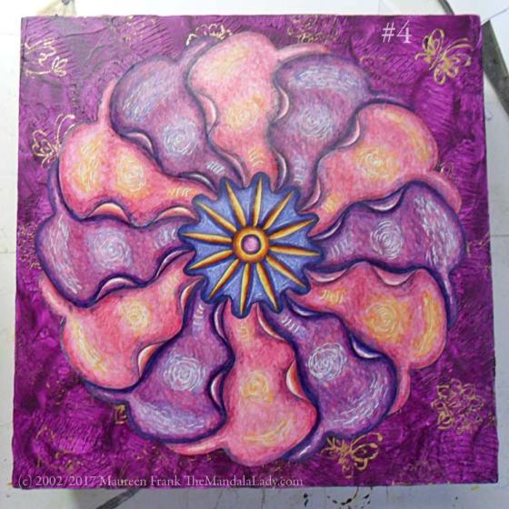 Primrose Mandala - purple - gold - stamps - butterflies - birds