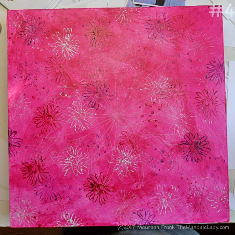 Windmill Mandala - pink - painting - The Mandala Lady - stamping