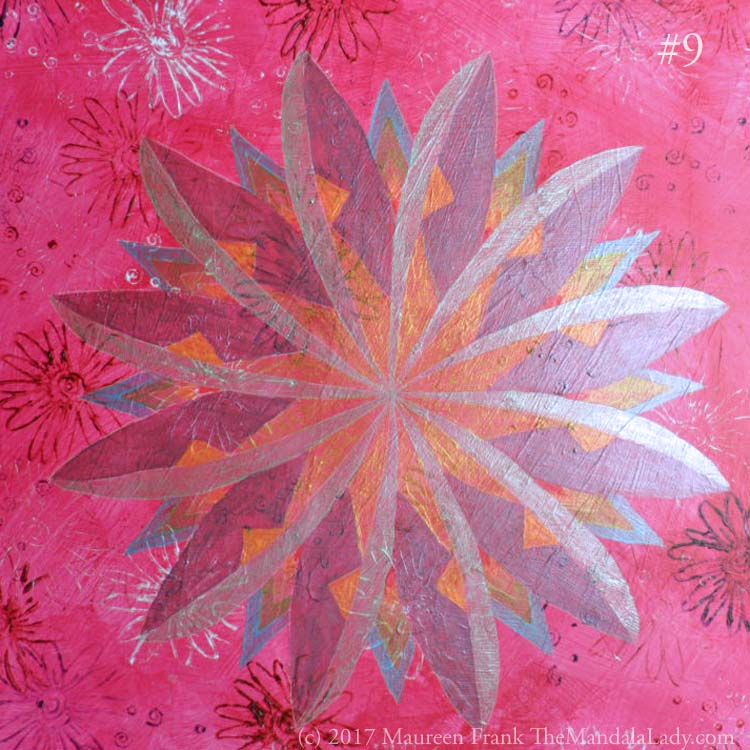 Windmill Mandala - pink - painting - The Mandala Lady - fuchsia