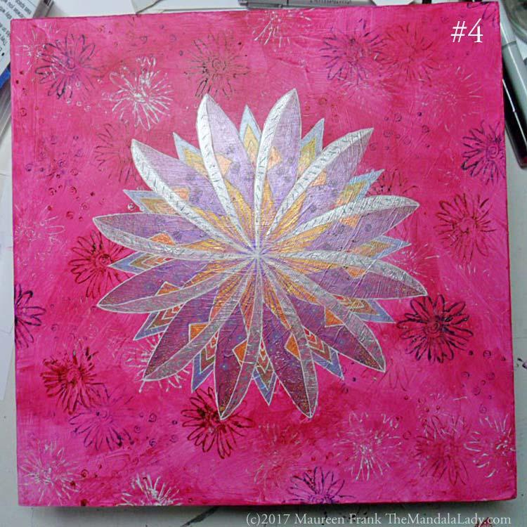Windmill Mandala - pink - painting - The Mandala Lady - fuchsia