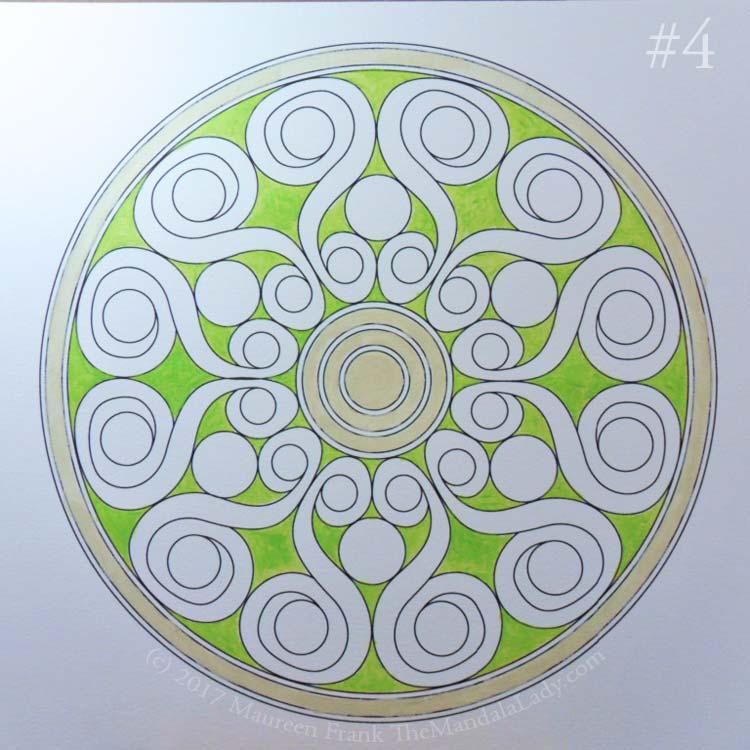 Double Spirals Mandala - The Mandala Lady - Mandala of the Month - green