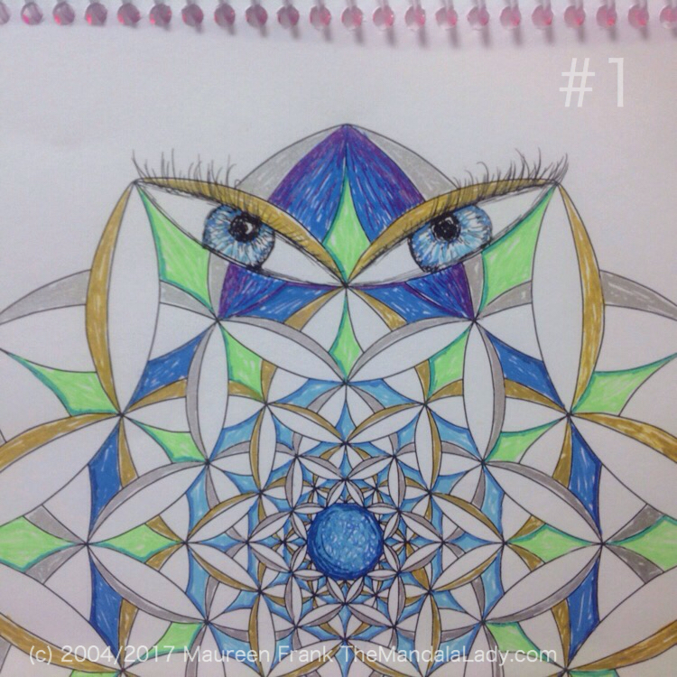 Fly Away With Me Mandala - The Mandala Lady - Wings - Butterflies - blue - green - gold - silver - blue eyes