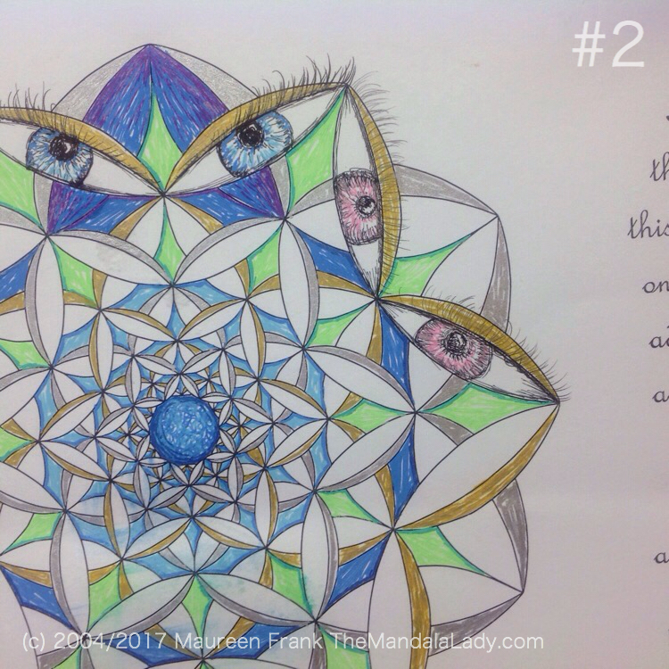 Fly Away With Me Mandala - The Mandala Lady - Wings - Butterflies - blue - green - gold - silver - blue eyes - pink eyes