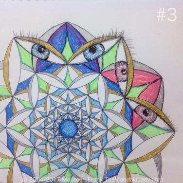 Fly Away With Me Mandala - The Mandala Lady - Wings - Butterflies - blue - green - gold - silver - blue eyes - pink eyes
