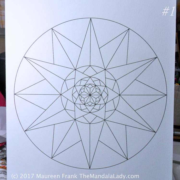 1 - print the mandala on mixed media paper