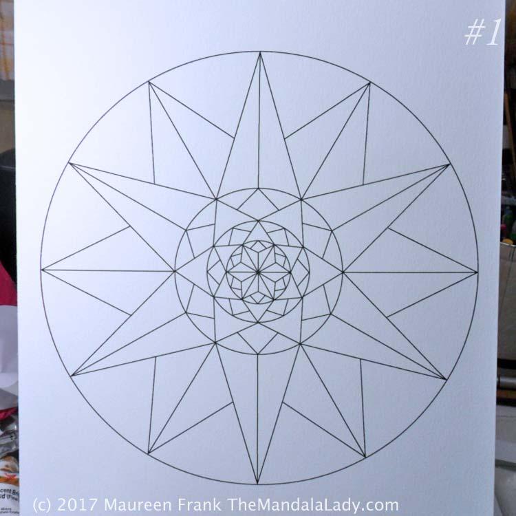 1 - print the mandala on mixed media paper